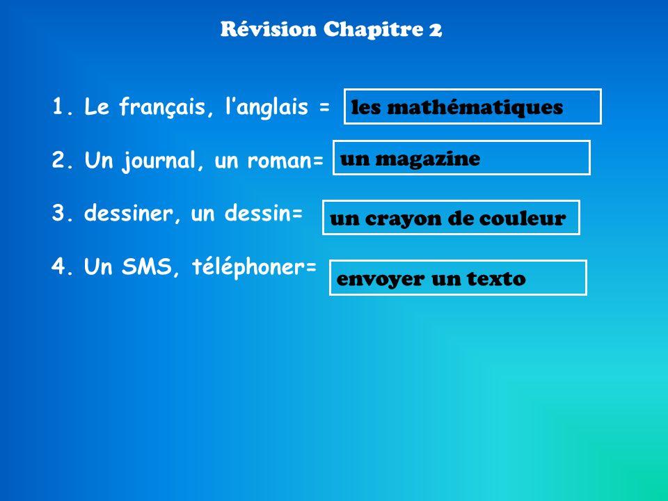 Révision Chapitre 2 Le français, l'anglais = Un journal, un roman= 3. dessiner, un dessin= 4. Un SMS, téléphoner=