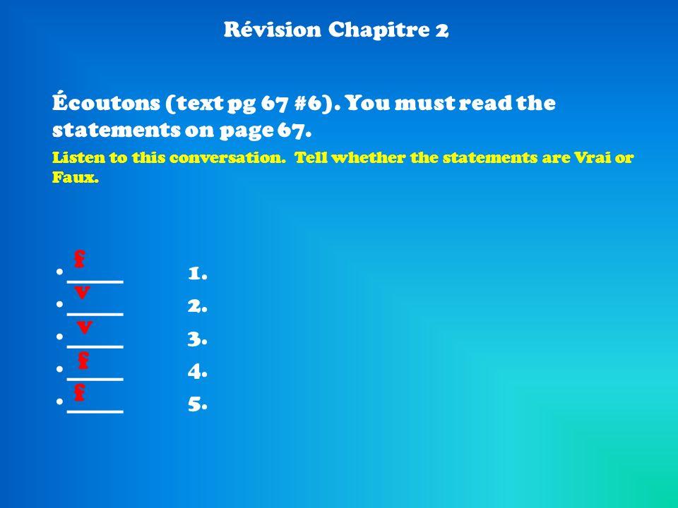 f v v f f Révision Chapitre 2
