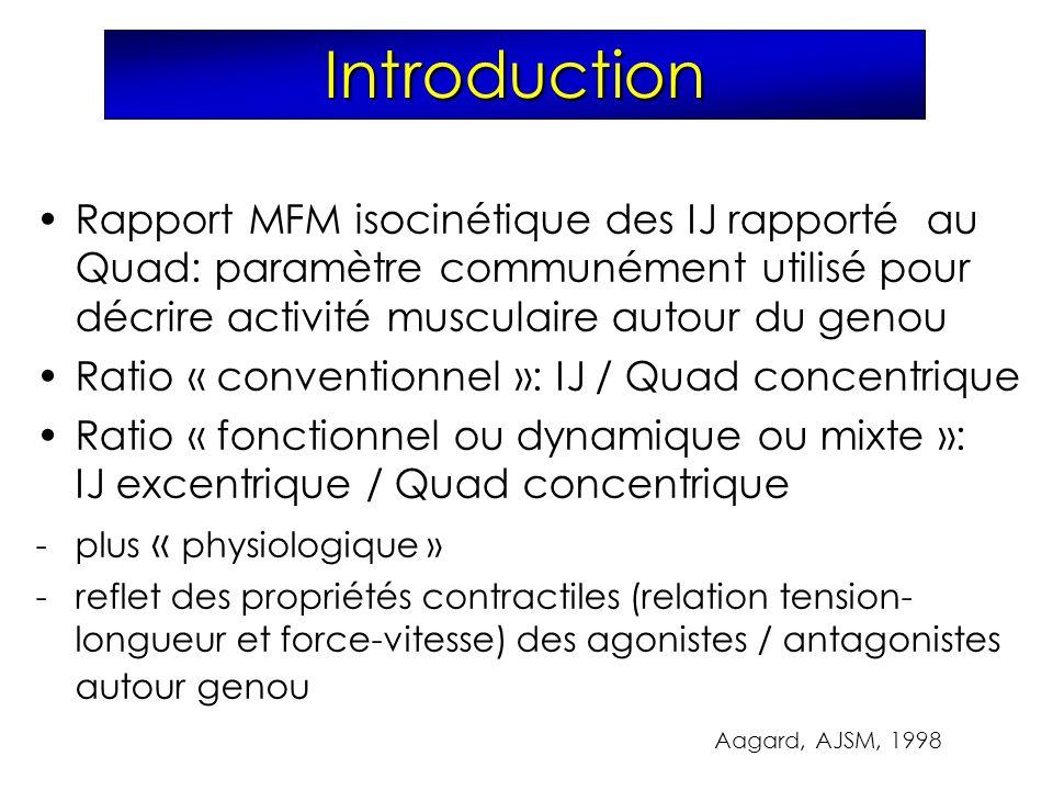 Introduction Rapport MFM isocinétique des IJ rapporté au Quad: paramètre communément utilisé pour décrire activité musculaire autour du genou.