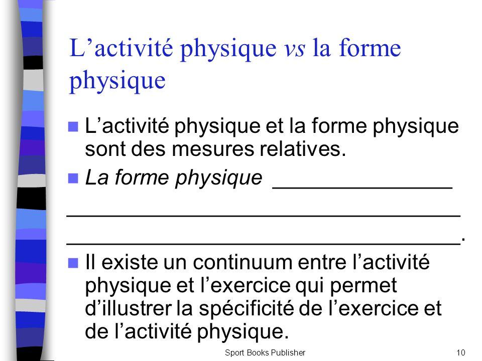 L'activité physique vs la forme physique