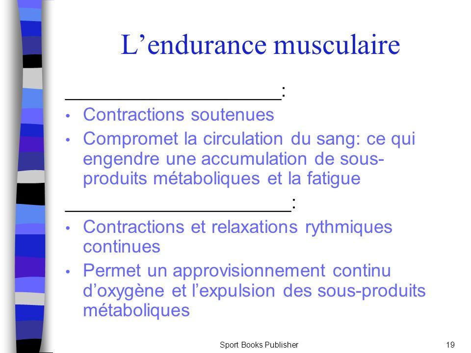 L'endurance musculaire