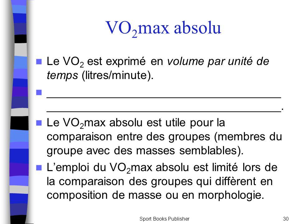 VO2max absolu Le VO2 est exprimé en volume par unité de temps (litres/minute).