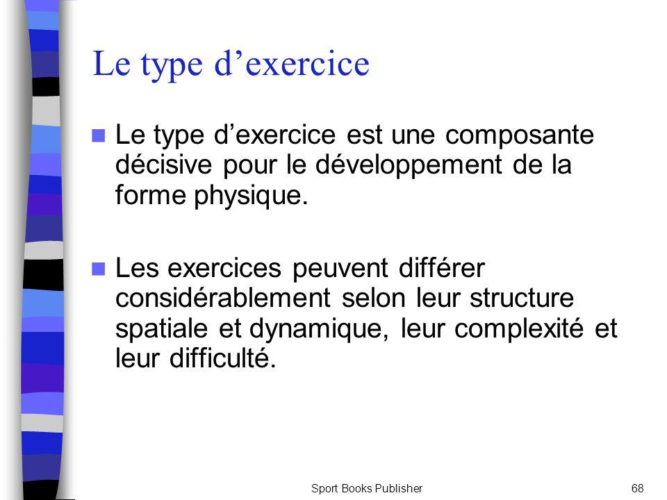 Le type d'exercice Le type d'exercice est une composante décisive pour le développement de la forme physique.