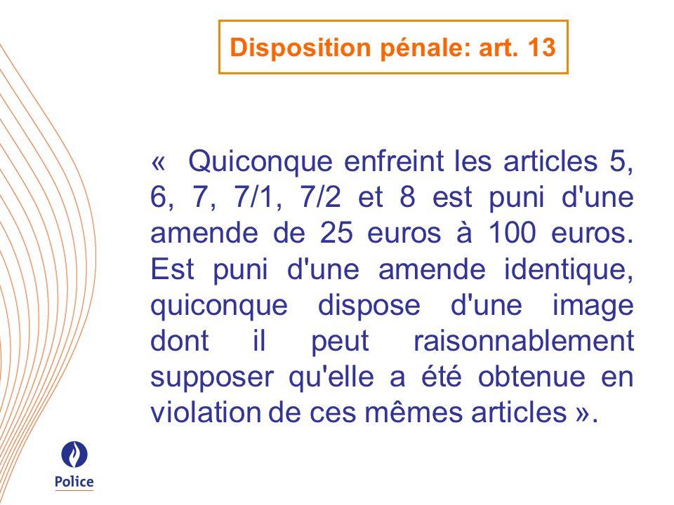 Disposition pénale: art. 13