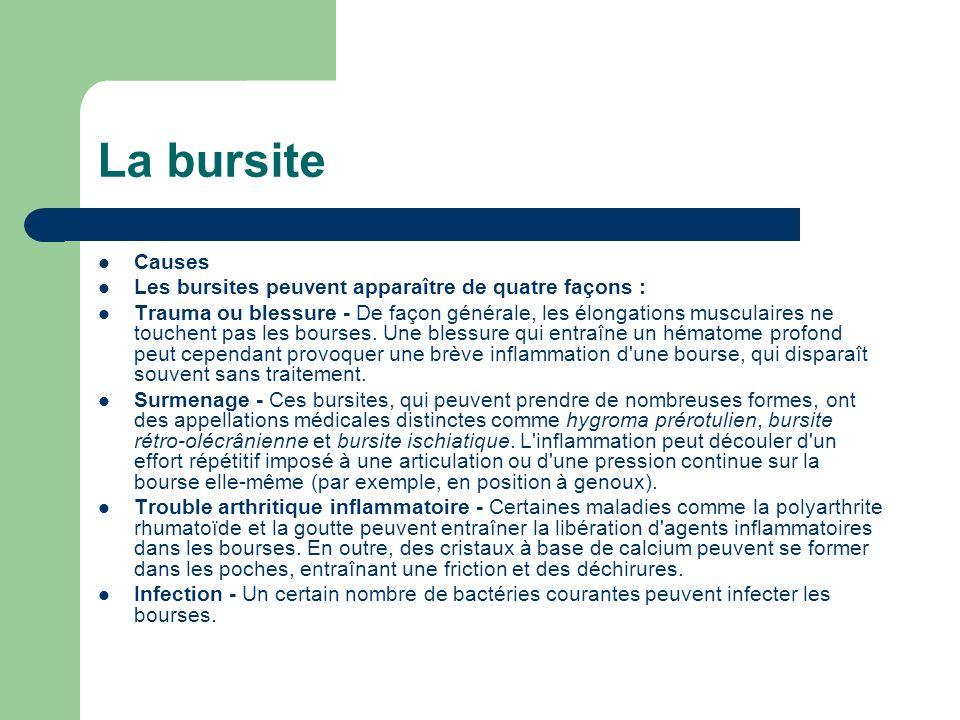 La bursite Causes Les bursites peuvent apparaître de quatre façons :