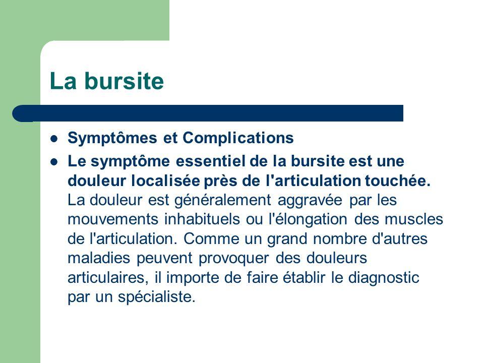 La bursite Symptômes et Complications