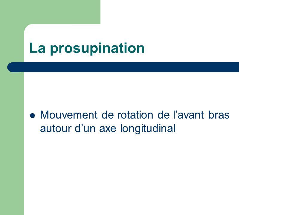 La prosupination Mouvement de rotation de l'avant bras autour d'un axe longitudinal