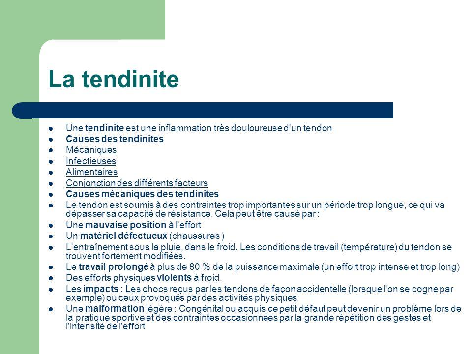 La tendinite Une tendinite est une inflammation très douloureuse d un tendon. Causes des tendinites.