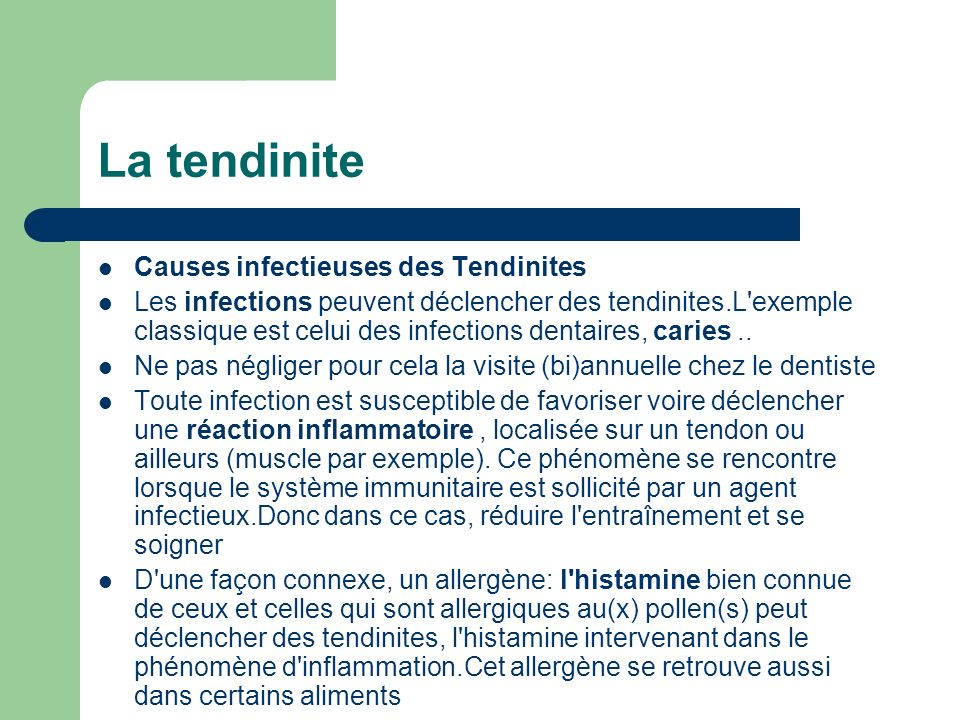 La tendinite Causes infectieuses des Tendinites