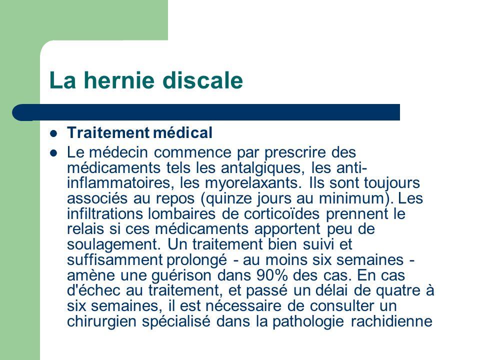 La hernie discale Traitement médical