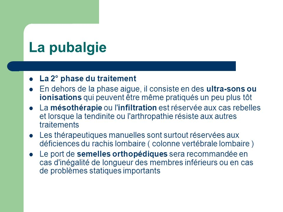 La pubalgie La 2° phase du traitement