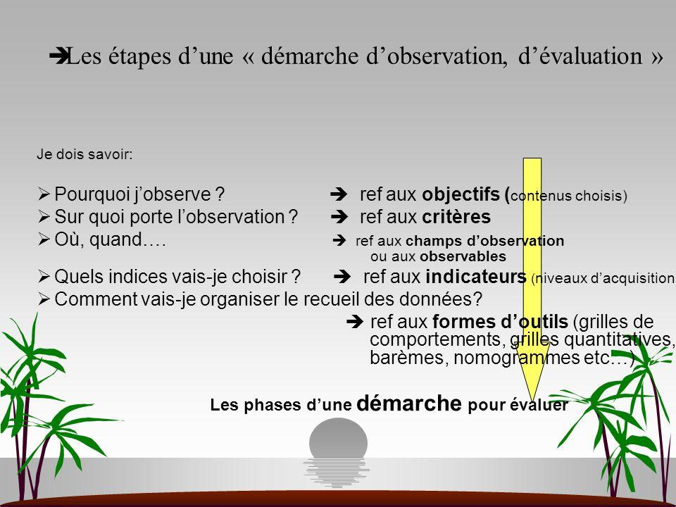 Les étapes d'une « démarche d'observation, d'évaluation »