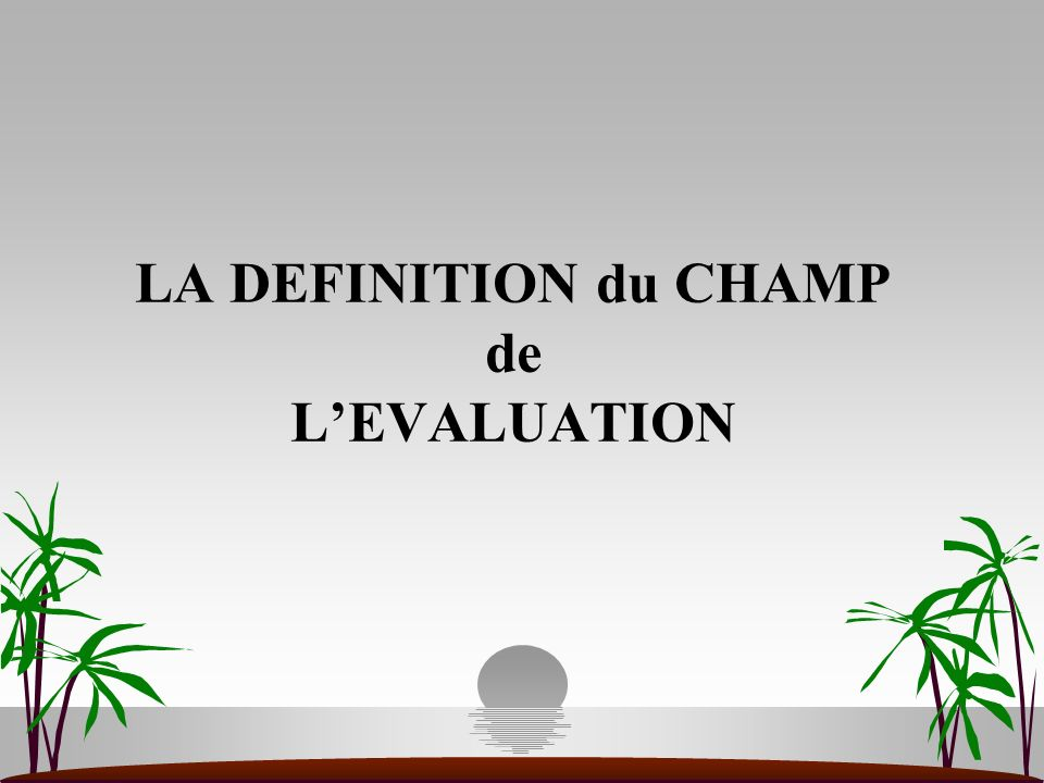 LA DEFINITION du CHAMP de L'EVALUATION