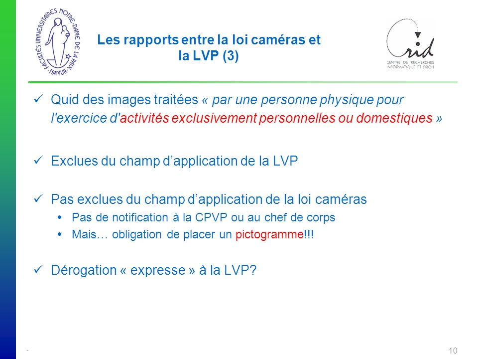 Les rapports entre la loi caméras et la LVP (3)