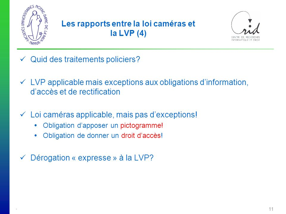 Les rapports entre la loi caméras et la LVP (4)