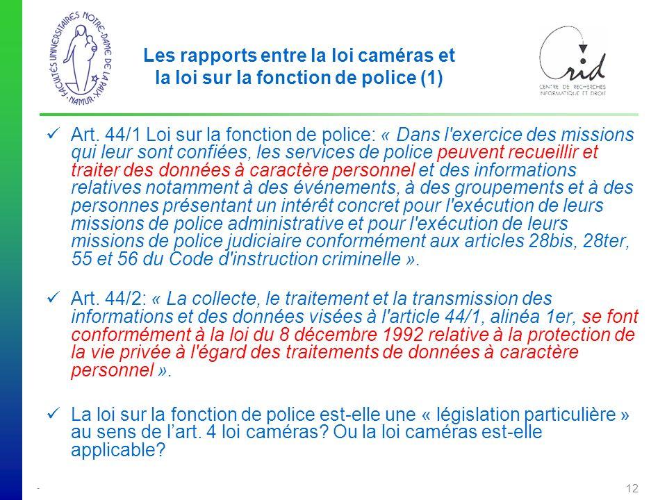 Les rapports entre la loi caméras et la loi sur la fonction de police (1)