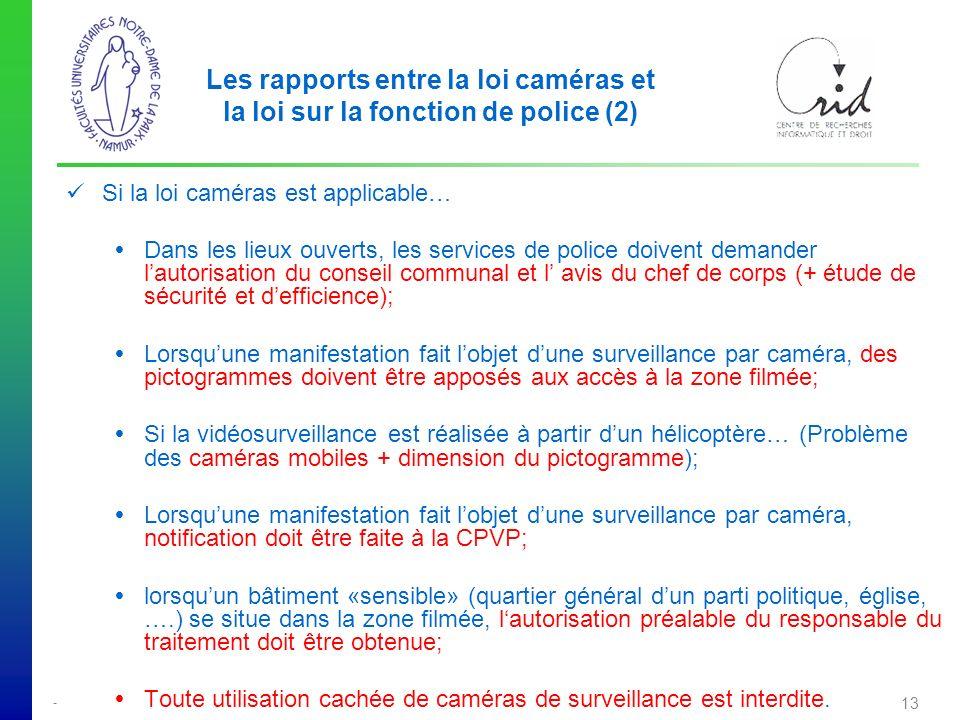 Les rapports entre la loi caméras et la loi sur la fonction de police (2)