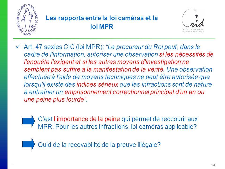 Les rapports entre la loi caméras et la loi MPR