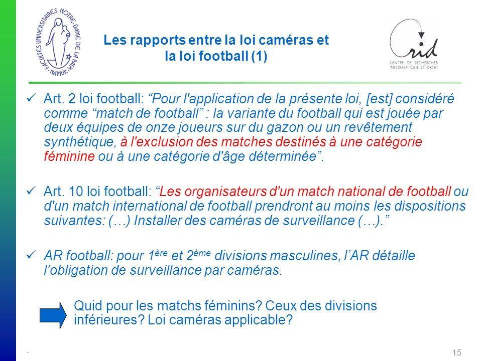 Les rapports entre la loi caméras et la loi football (1)