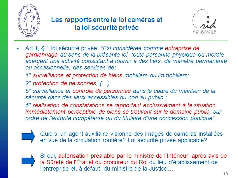 Les rapports entre la loi caméras et la loi sécurité privée