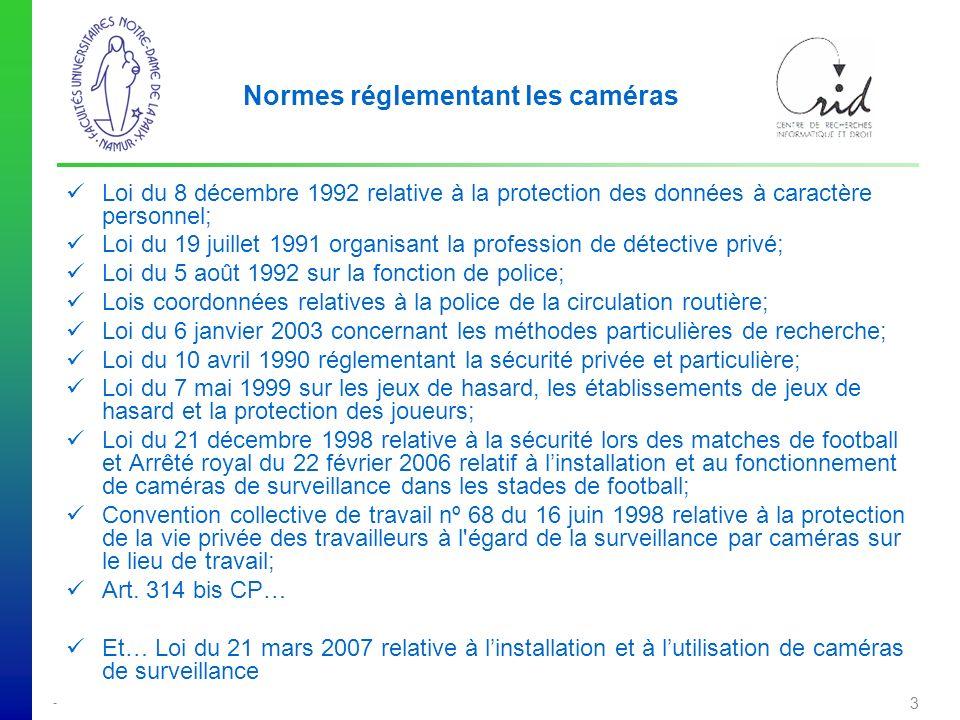 Normes réglementant les caméras