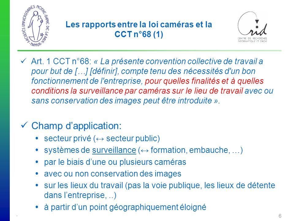 Les rapports entre la loi caméras et la CCT n°68 (1)