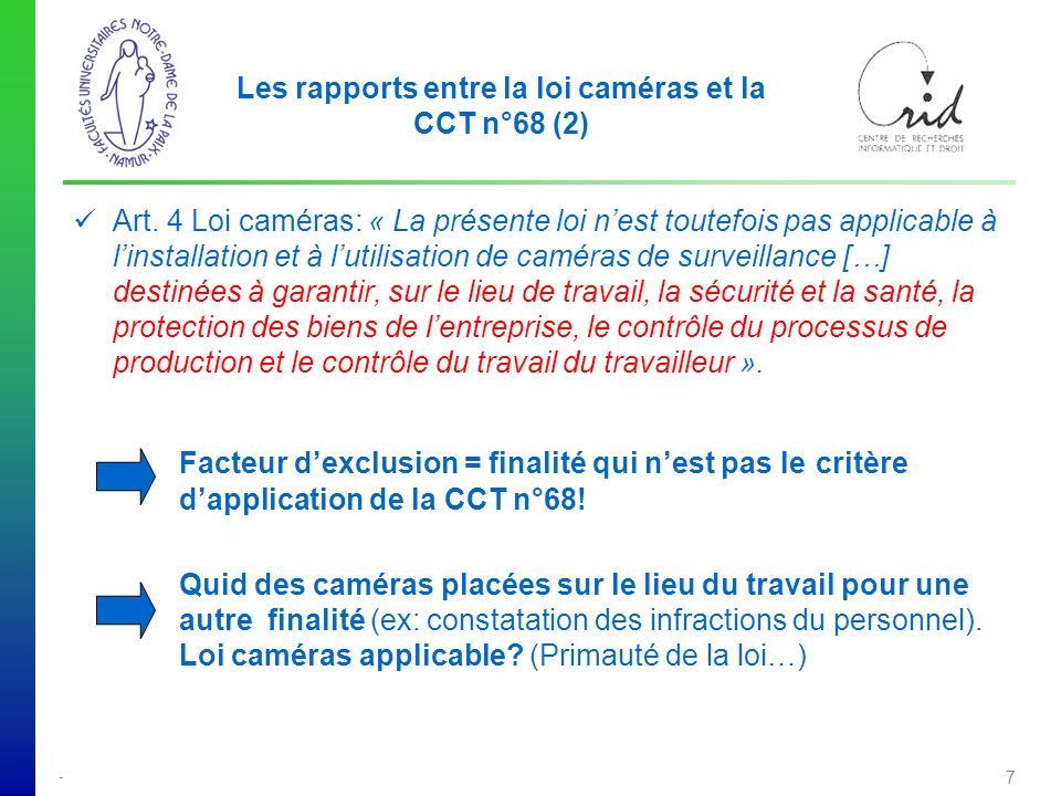 Les rapports entre la loi caméras et la CCT n°68 (2)