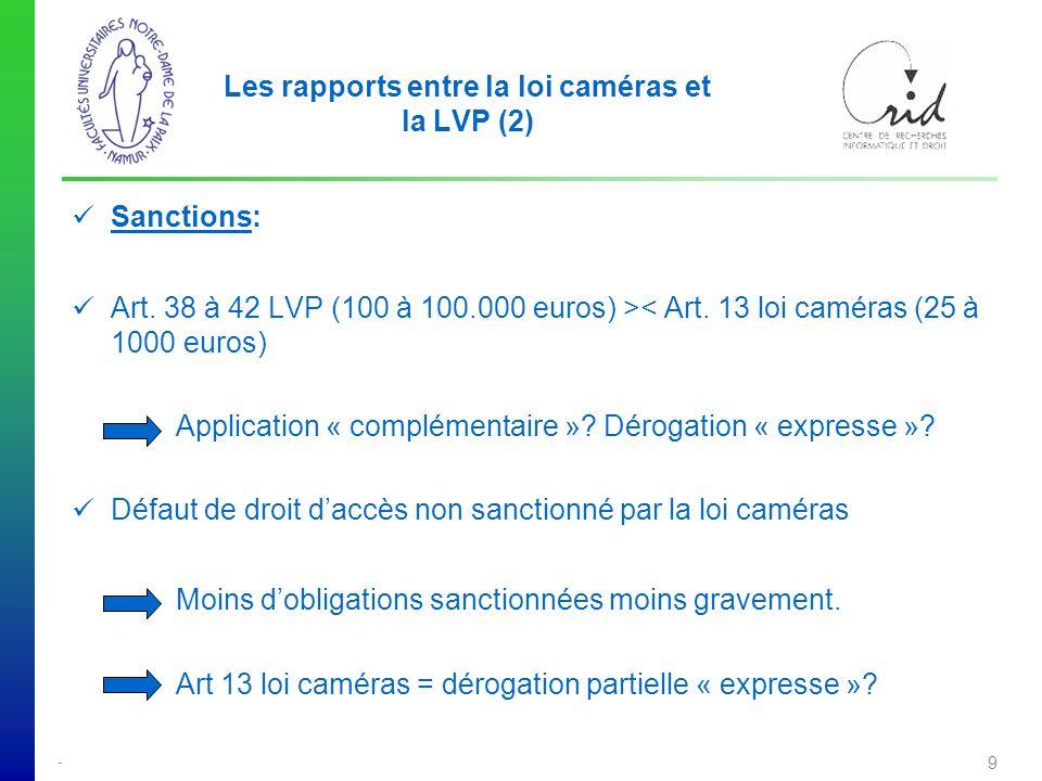 Les rapports entre la loi caméras et la LVP (2)