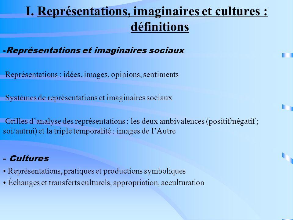 I. Représentations, imaginaires et cultures : définitions