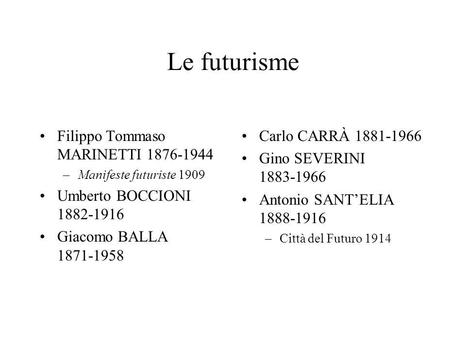 Le futurisme Filippo Tommaso MARINETTI 1876-1944
