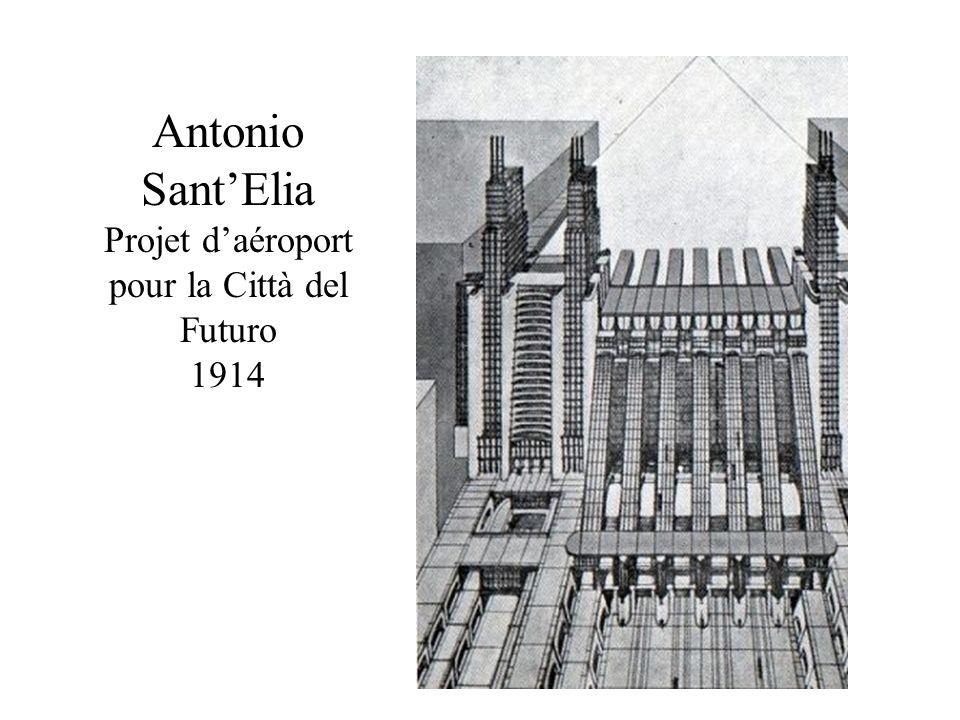 Antonio Sant'Elia Projet d'aéroport pour la Città del Futuro 1914