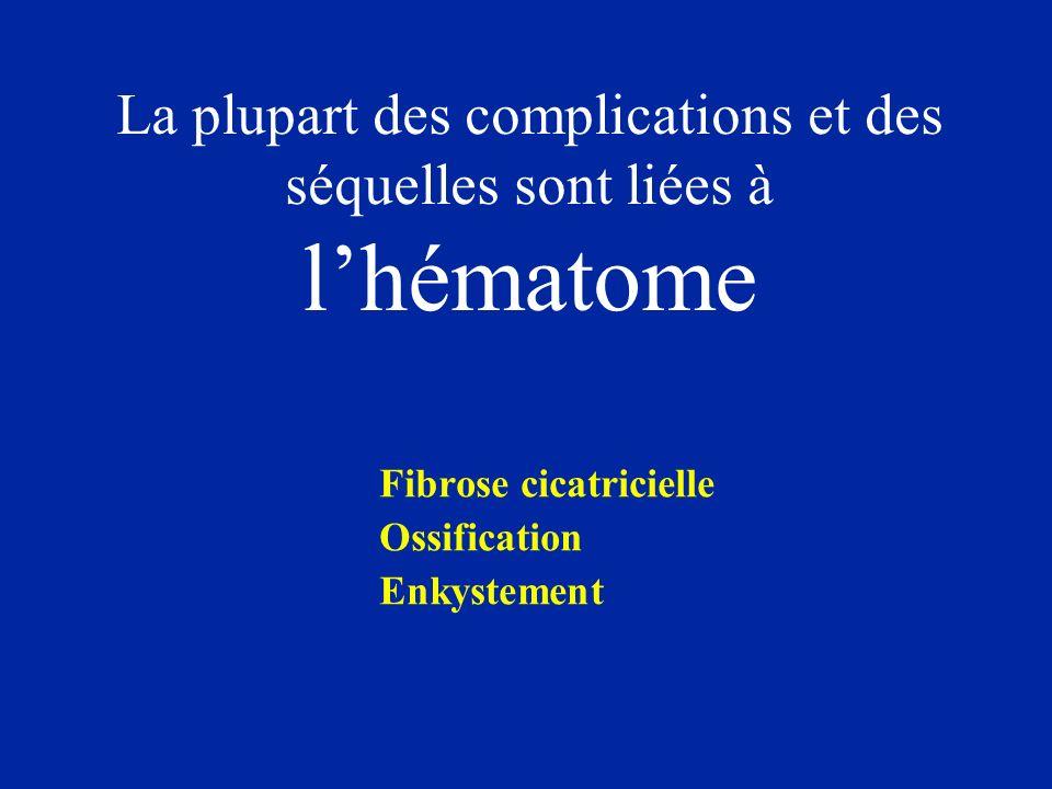 La plupart des complications et des séquelles sont liées à l'hématome