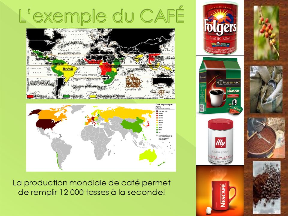 L'exemple du CAFÉ La production mondiale de café permet de remplir 12 000 tasses à la seconde!