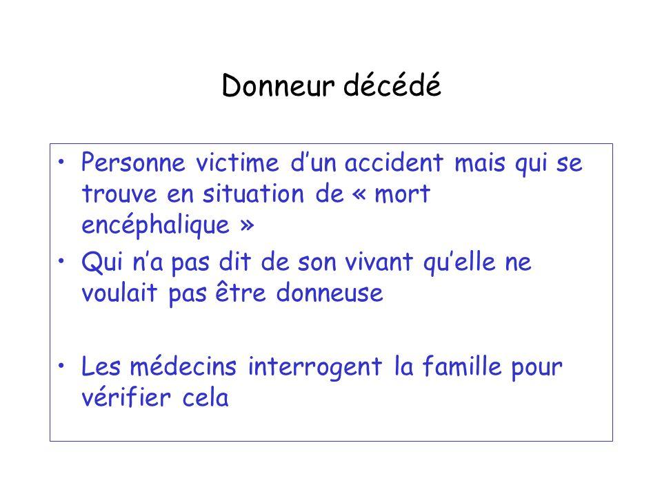 Donneur décédé Personne victime d'un accident mais qui se trouve en situation de « mort encéphalique »