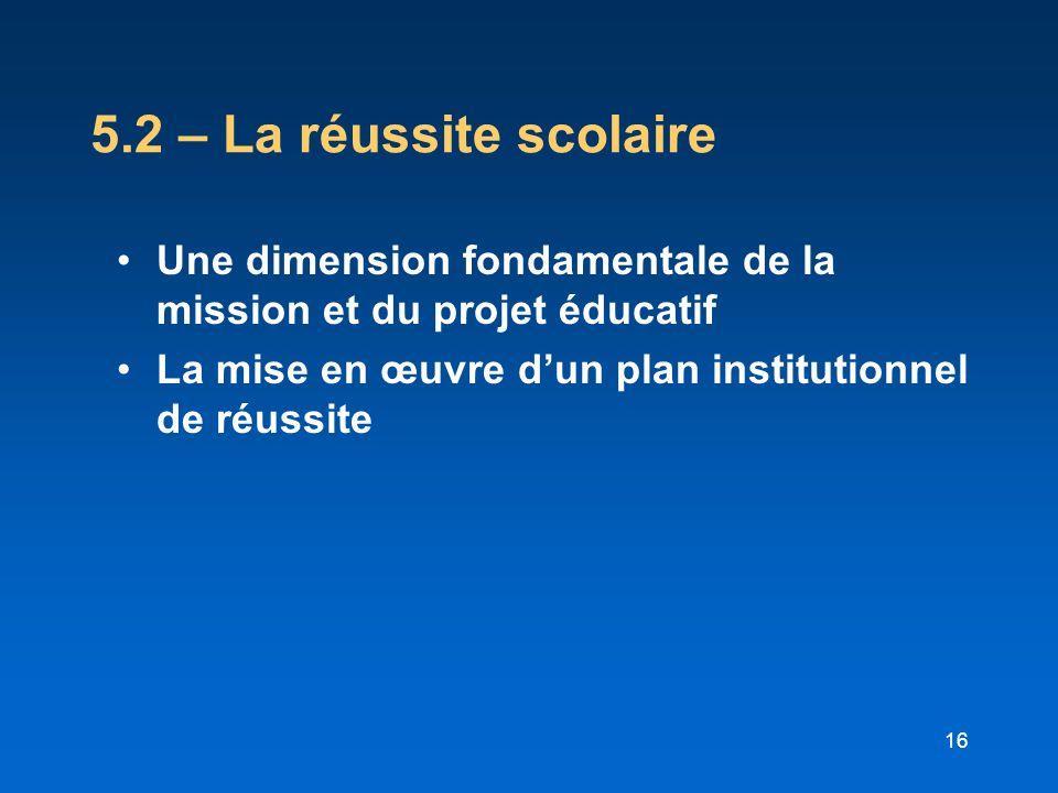 5.2 – La réussite scolaire Une dimension fondamentale de la mission et du projet éducatif.