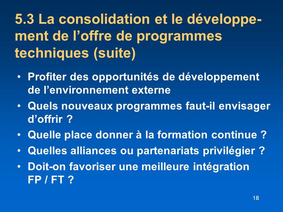 5.3 La consolidation et le développe-ment de l'offre de programmes techniques (suite)