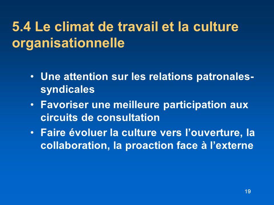 5.4 Le climat de travail et la culture organisationnelle
