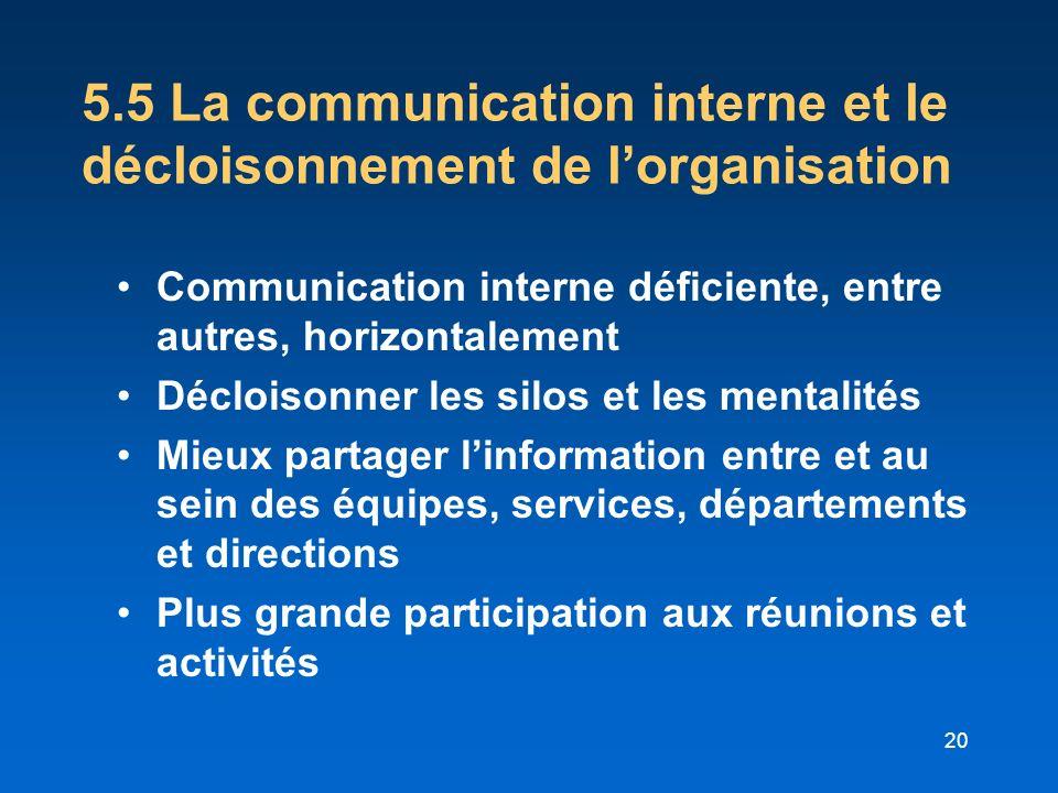 5.5 La communication interne et le décloisonnement de l'organisation
