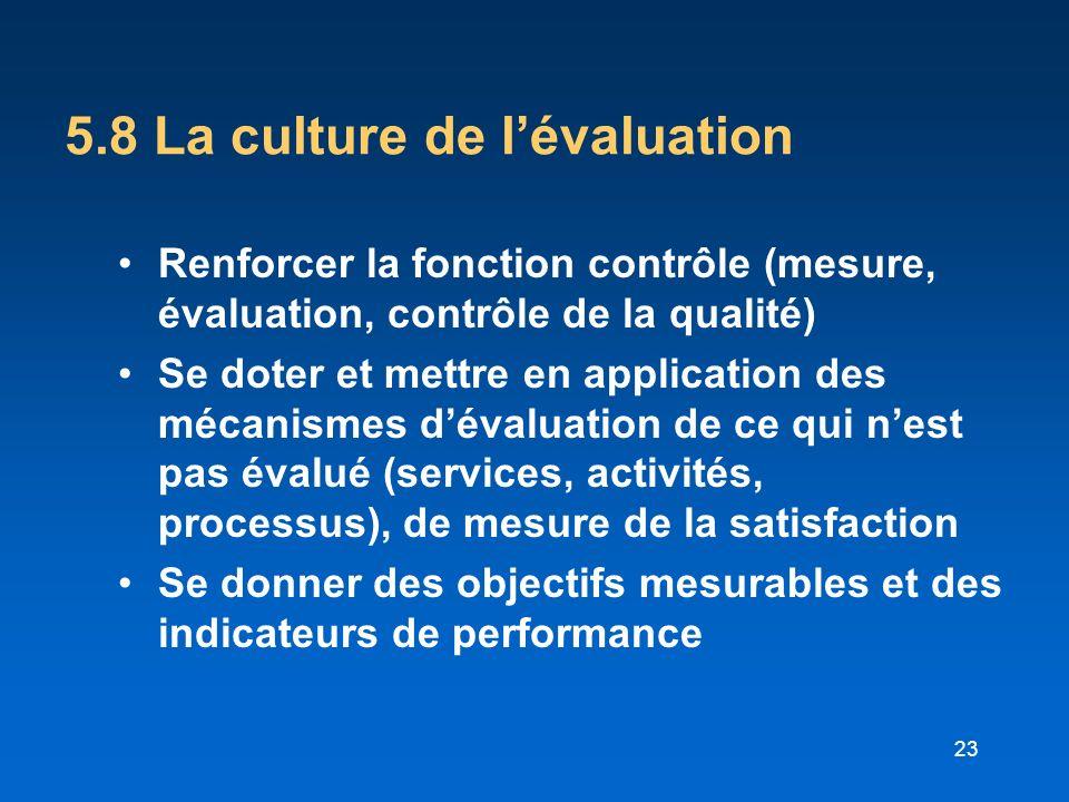 5.8 La culture de l'évaluation