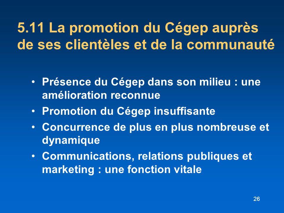 5.11 La promotion du Cégep auprès de ses clientèles et de la communauté