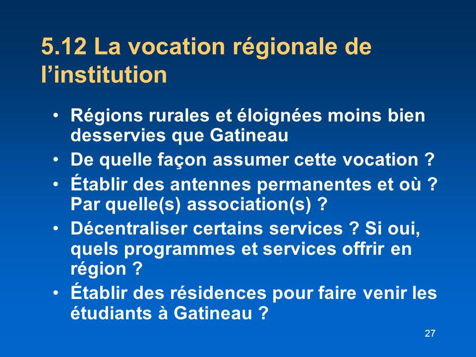 5.12 La vocation régionale de l'institution
