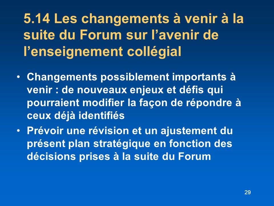 5.14 Les changements à venir à la suite du Forum sur l'avenir de l'enseignement collégial