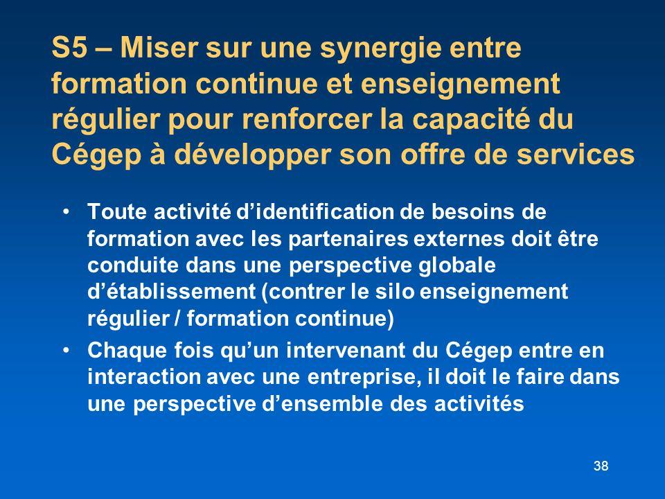 S5 – Miser sur une synergie entre formation continue et enseignement régulier pour renforcer la capacité du Cégep à développer son offre de services