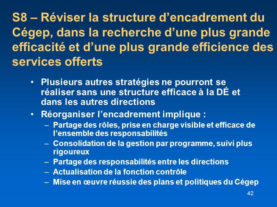 S8 – Réviser la structure d'encadrement du Cégep, dans la recherche d'une plus grande efficacité et d'une plus grande efficience des services offerts