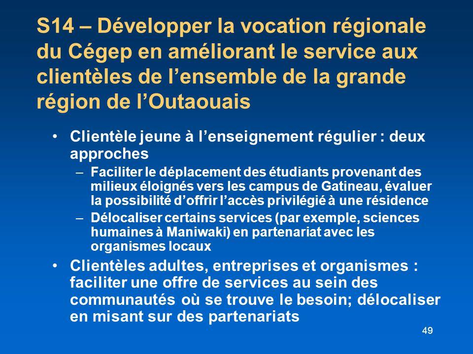 S14 – Développer la vocation régionale du Cégep en améliorant le service aux clientèles de l'ensemble de la grande région de l'Outaouais