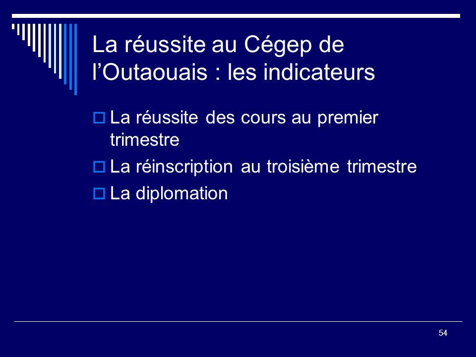 La réussite au Cégep de l'Outaouais : les indicateurs