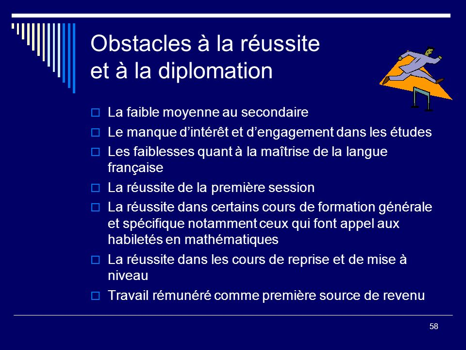 Obstacles à la réussite et à la diplomation