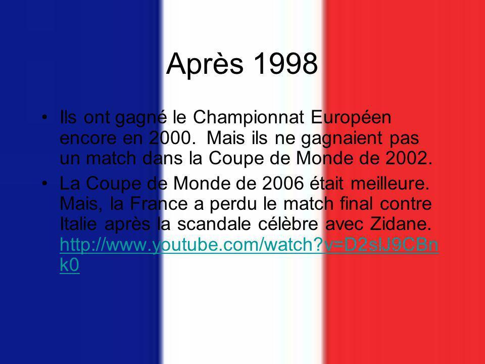 Après 1998 Ils ont gagné le Championnat Européen encore en 2000. Mais ils ne gagnaient pas un match dans la Coupe de Monde de 2002.