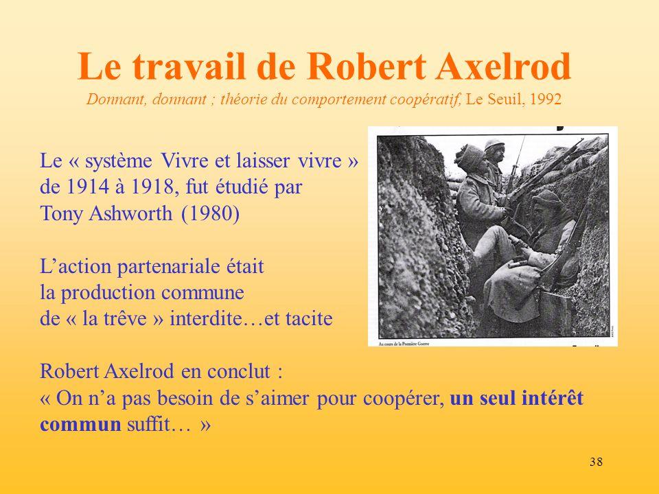 Le travail de Robert Axelrod Donnant, donnant ; théorie du comportement coopératif, Le Seuil, 1992