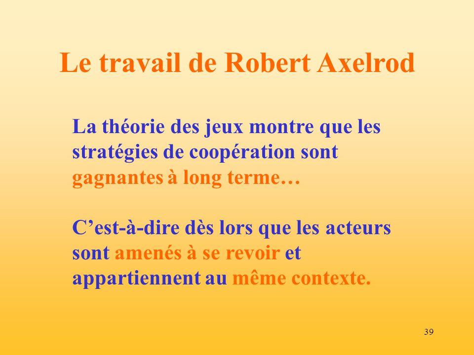 Le travail de Robert Axelrod